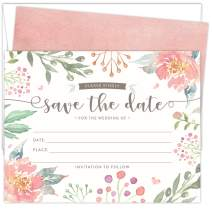 Koko Paper Co Save The Date Cards for Weddings. Set of 25 Fill-in Style Cards and White Envelopes. Light Pink and Green Florals Designs. Printed on Heavy Card Stock.