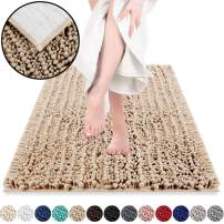 DEARTOWN Non-Slip Shaggy Bathroom Rug(20x32 Inches,Marzipan),Soft Microfibers Chenille Bath Mat with Water Absorbent, Machine Washable