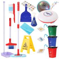 KLT Kids Cleaning Set for Toddlers,13 Pcs, Kids Broom Set with Sweeping Robot Machine Toy, Kids Garbage Classification Toy, Pretend Play Cleaning Supplies for Kids, Toy Cleaning Set for Boy Girl