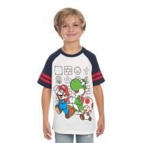 Nintendo Boys Super Mario Yoshi and Toad Friends Raglan Fashion T-Shirt