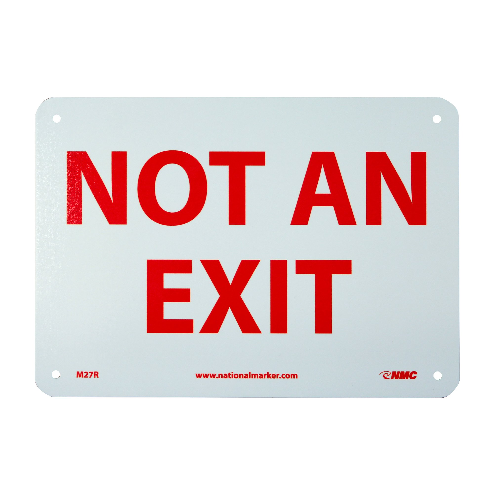 """NMC M27R Safety Sign, """"NOT AN EXIT"""", 10"""" Width x 7"""" Height, Rigid Plastic, Red on White"""