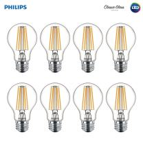 Philips LED 60 Watt Equivalent Philips 469734 Clear Glass A19 Dimmable LED Light Bulb with Warm Glow Effect, Soft White, 8 Pack, 8-Pack, 8 Count