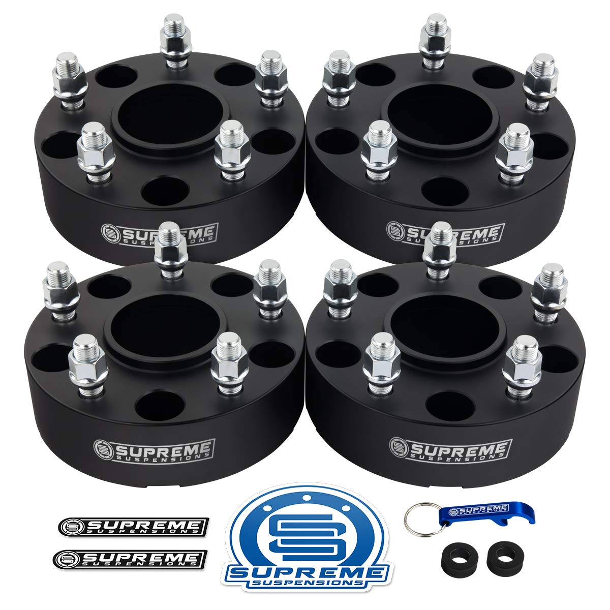 """Supreme Suspensions - 4pc 1.5"""" Hub Centric Wheel Spacers for 2002-2011 Dodge Ram 1500 2WD 4WD 5x5.5 (5x139.7mm) BP with 9/16"""" x18 Studs 77.9mm Center Bore w/Lip [Black]"""