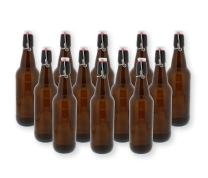 Swing Top Bottles w/Caps - 16.9oz, Amber Glass, Reusable for Homebrew - 12 pack