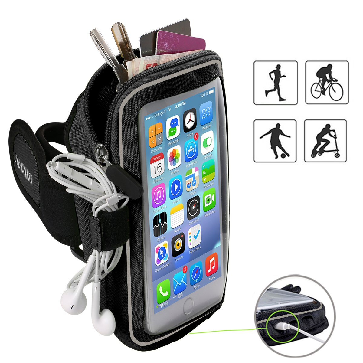 Xboun iPhone Armand, Outdoor Armband Sweatproof Gym Jogging Exercise Running Sports Armband Case with Key Holder & Pocket Pouch for iPhone 8 7 6 6s 5s 5c SE - Fits for Men and Women