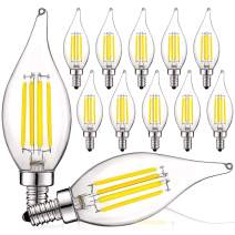 Luxrite Vintage Candelabra LED Bulb 60W Equivalent, 550 Lumens, 4000K Cool White, LED Chandelier Light Bulbs 5W, Dimmable, Flame Tip Clear Glass, Filament LED Candle Bulbs, E12 Base (12 Pack)