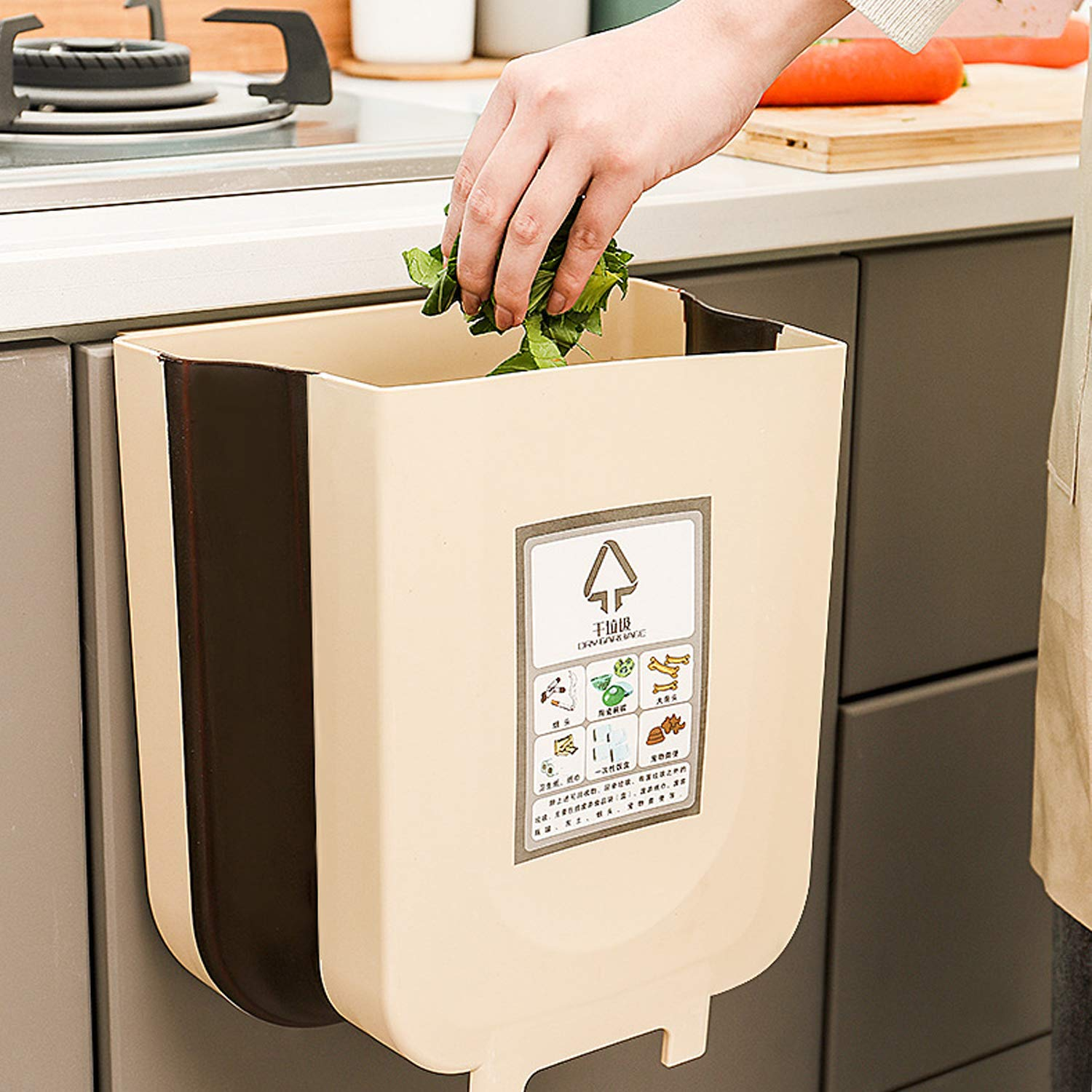 Vapeart Hanging Trash Can for Kitchen Cabinet Door, Collapsible Trash Bin Small Compact Garbage Can Attached to Cabinet Door Kitchen Drawer Bedroom Dorm Room Car Waste Bin-9L (Coffee)