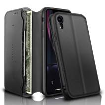 REALIKE iPhone XR Wallet Case Leather Folio Flip Case with Kickstand for iPhone XR Slim Fit with Magnetic Closure Shockproof Protection for Men and Women. -Black Color