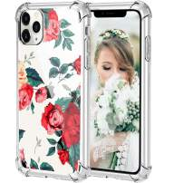 HBorna Case for iPhone 11 Pro, Soft Silicone Clear Cover for Women, with Design Floral Pattern, Slim Protective TPU Case for 2019 iPhone 11 Pro 5.8 Inch, Red Floral