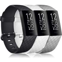 """Pack 3 Silicone Bands Compatible for Fitbit Charge 4 / Fitbit Charge 3 / Charge 3 SE Replacement Wristbands for Women Men Small Large(Without Tracker) (Large: for 7.1""""-8.7"""" Wrists, Black+White+Grey)"""