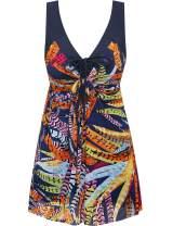 Wantdo Women's Plus Size Swimdress Flower Printed Swimwear Cover Up Swimsuits