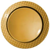 Tiger Chef 100-Pack 13 inch Round Gold Diamond Plastic Charger Plates Disposable Set of 2, 4, 6, 12 or 24 for Parties, Wedding, and Special Events