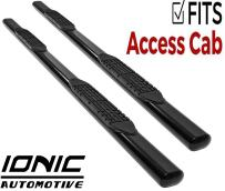 """Ionic 'Pro' Series 4"""" Black (fits) 2005-2018 Toyota Tacoma Access Cab Only Nerf Bars Truck Side Steps (440209)"""