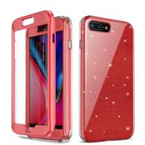 "Case for iPhone 7 Plus iPhone 8 Plus Cute Case Full Body Shockproof Protective Case Heavy Drop Protection Cover Case with Built-in Screen Protector for 5.5"" iPhone 7P/8P (Bling Red)"