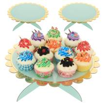 UltraOutlet 3-pack Large Cardboard Cake Stands, Disposable Paper Cupcake Holder Dessert Display for Weddings, Birthday Parties, Baby Showers, and Graduations, Green Aqua