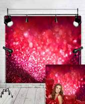 Fanghui 6x6ft Vinyl Red Love Heart Photo Backdrops Glitter Sequin Spot Background for Valentine's Day Theme Decoration Photography Studio Props Booth