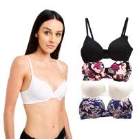 CATHERINE MALANDRINO Women's 4-Pack Underwire Micro Push Up Bra, Black/White/Pink Floral/Blue Floral