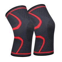 Knee Support Knee Brace Red for Men & Women Support for Running Basketball Jumping Pain Relief Injury Recovery 1 Pair…