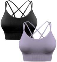 Sykooria 1-3 Pack Sexy Sports Bra for Women Workout Fitness Tops Strappy Crisscross Open Back for Yoga Running Athletic Gym
