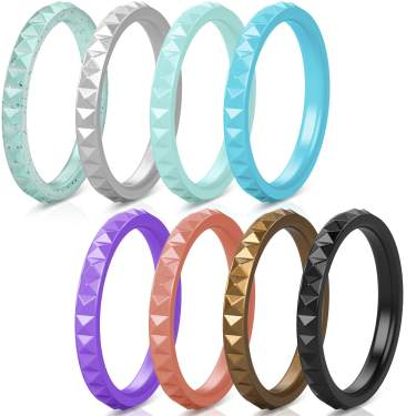 Breathable Patterned Design Sleek Step Edge 8mm Width 2.2mm Thickness ThunderFit Silicone Rings for Men 7 Rings // 4 Rings // 1 Ring