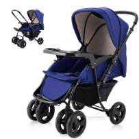 Two Way Stroller, Baby Foldable Conversable Pushchair w/ 5- Point Safety Harness, Sleeping Cushion, Storage Basket, Free Standing by Costzon (Sapphire Blue)