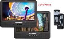 "Koramzi DVD-2DVDK9 Portable 9"" Dual Screen Dual DVD Player W Rechargeable Battery/AC Adapter/AV in/USB &SD Card Reader/Remote Control/Car Adapter/IR Transmitter Ready/USB/Headrest Mounting Kit"