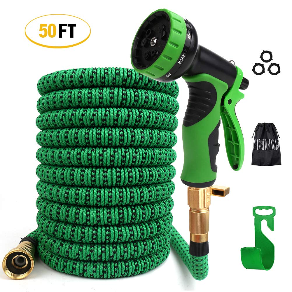 MultiOutools Expandable Garden Hose 50FT Water Hose with 9 Function Spray Nozzle and Durable 3-Layers Latex,Flexible Water Hose with Solid Brass Fittings Extra Strength Fabric Hose for Garden Lawn