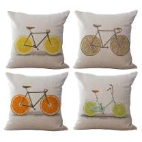 ChezMax Set of 4 Linen Cotton Office Chair Seat Cushion Cover for Sofa Couch Throw Pillow Case Fruit Bike 18'' X 18''
