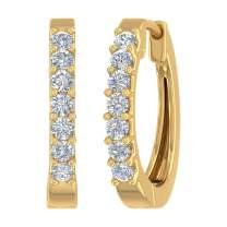 1/2 Carat 7-Stones Diamond Hoop Earrings in 10K Gold