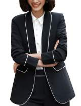 Long Sleeve Casual Solid Color Business Blazer for Women Black and White Edge Line Black and White Border XL