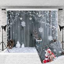KINGSKY 7x5ft Christmas Photo Backdrop Snowflake Christmas Wood Wall Backdrops Children Christmas Party Decoration Backgrounds for Photography