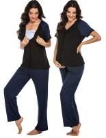 Ekouaer Maternity Nursing Pajama Set Short/Long Sleeved Button Tops PJ Pants Soft Breastfeeding Sleepwear