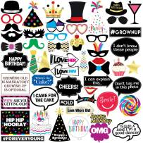 Sterling James Co. Funny Birthday Photo Booth Props - 47 Pieces - 21st - 30th - 40th - 50th - 60th - 70th - 80th - 90th - Birthday Party Supplies, Decorations and Favors