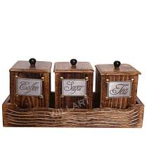 WILLART Handcrafted Wooden Antique Look Tea Coffee Sugar 3 Large Container Set in Wooden Tray – Container Canister