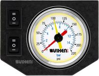 """Vixen Air One 2"""" Dual Needle Air Pressure White Gauge with Two Momentary Switches and Metal Dash Panel Kit VXF1GP2RKW"""