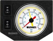 "Vixen Air One 2"" Dual Needle Air Pressure White Gauge with Two Momentary Switches and Metal Dash Panel Kit VXF1GP2RKW"