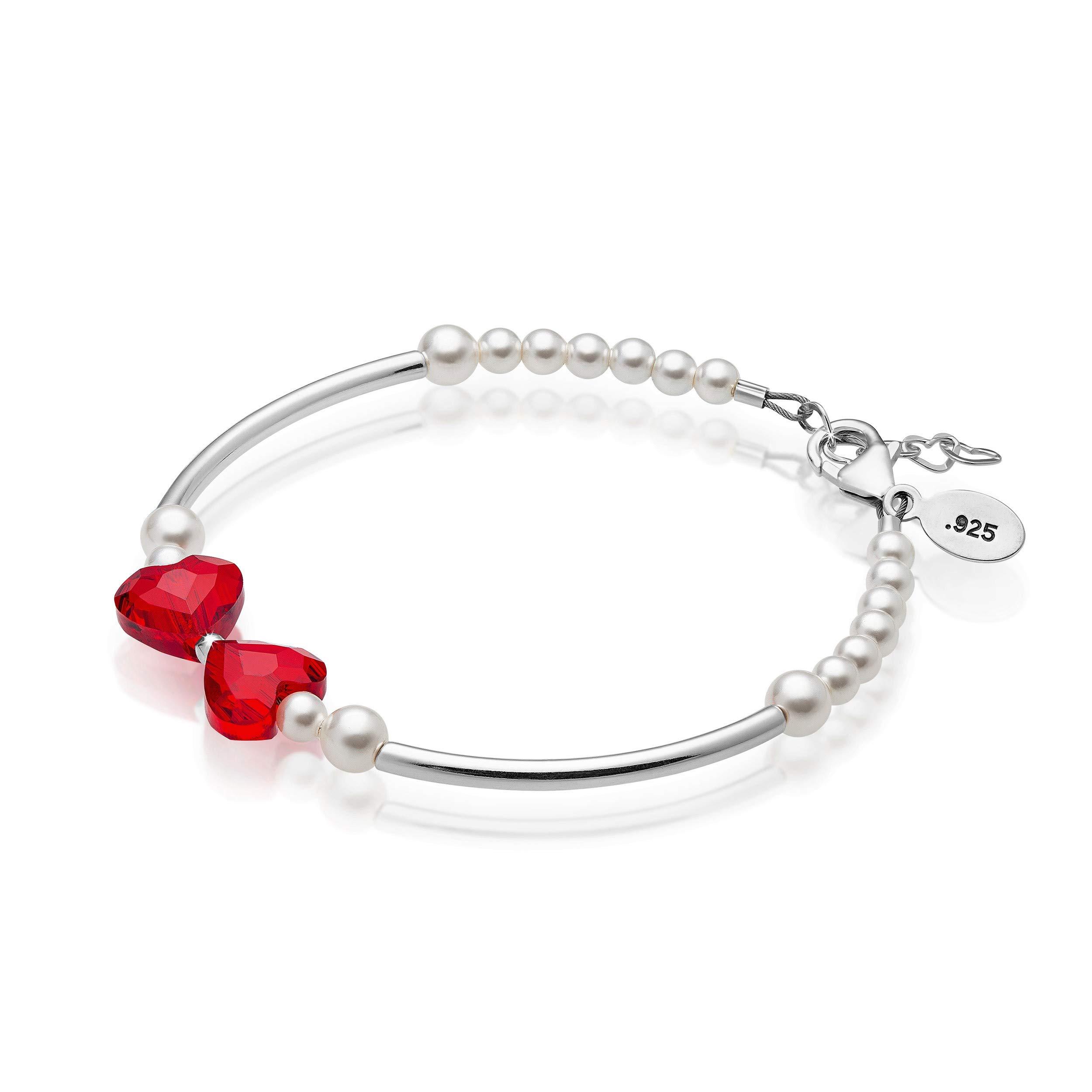 Baby Crystals Sterling Silver Bangles - Charm Bracelets for Girls - Baby Bangles for Girls with Swarovski Heart Crystal - Baby keepsake Gifts - Adjustable Bracelets (3-18 Months)