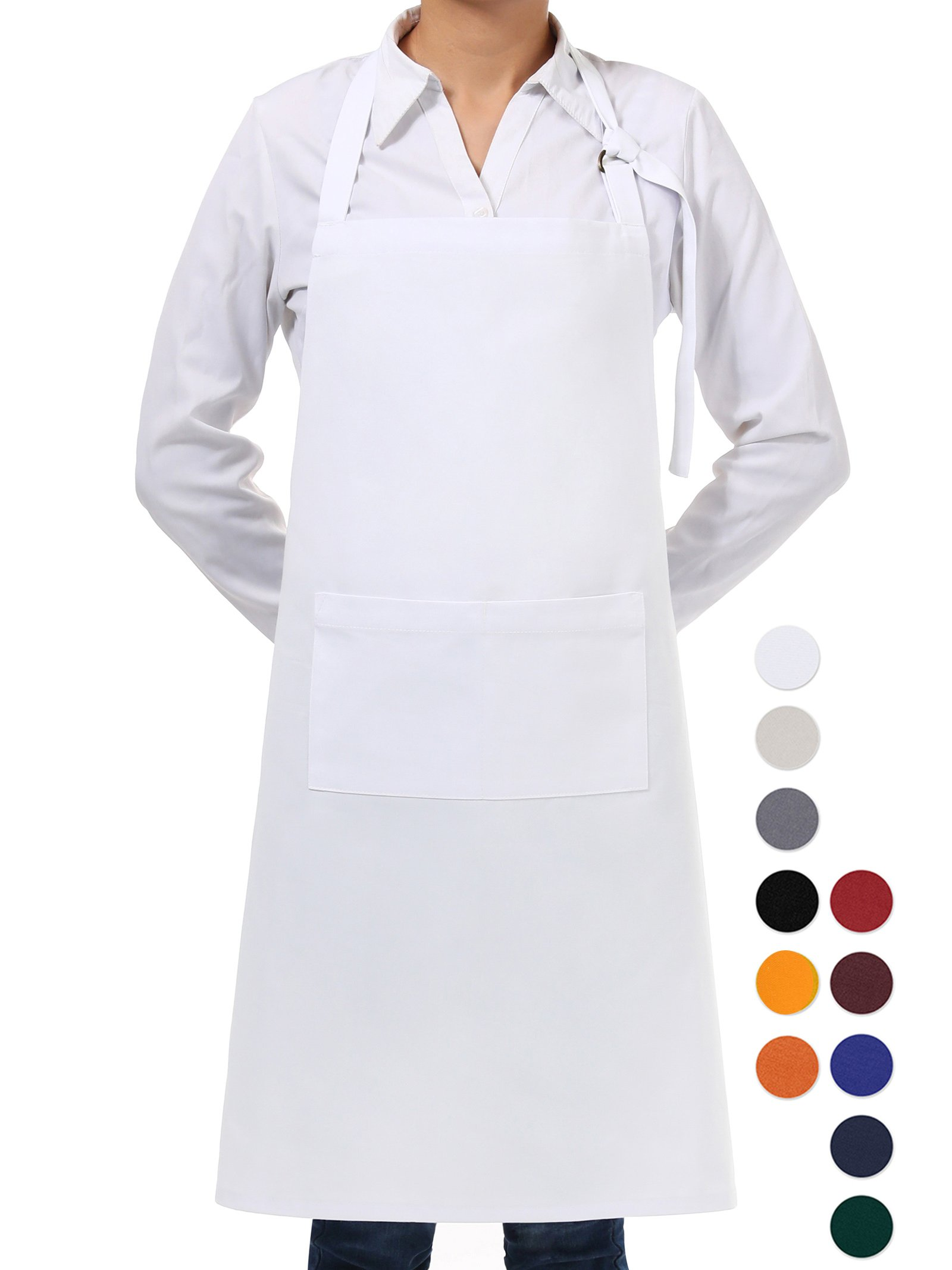 VEEYOO Adjustable Chef Bib Apron with 2 Pockets, Durable Spun Poly Cotton, Cooking Kitchen Restaurant Uniform Aprons for Men Women, 32x28 inches, White