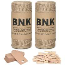 524 Feet Twine String Rope Kit Includes 2 Ribbon Twine Natural Ropes,50 Kraft Paper Tags, 20 Wooden Clips for DIY Crafts Hanging Pictures Gardening Applications Gifts Wrapping Packing by BNK.