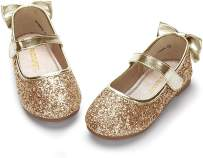 PANDANINJIA Toddler/Little Kid Girl's Angela Dress Mary Jane Ballet Flats Bow Flower Girl Wedding Party Ballerina Flat Shoes (Gold Sequin, 9 M US Toddler)