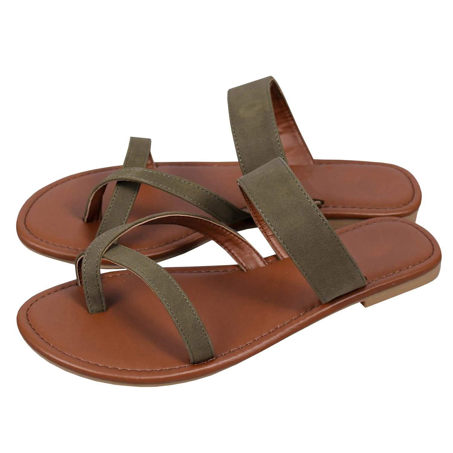 Womens Cross Toe Fashion Flat Ankle Buckle Thong Flip Flop Strappy Summer Sandals