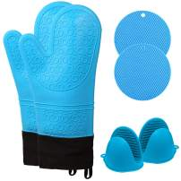 TIANHAO Oven Mitts and Pot Holders, 6-Piece Heavy Duty Cooking Gloves with Mini Oven Gloves Set, Heat Resistant Hot Pads Potholders for Kitchen, Silicone BBQ Gloves with Cotton Infill, Blue