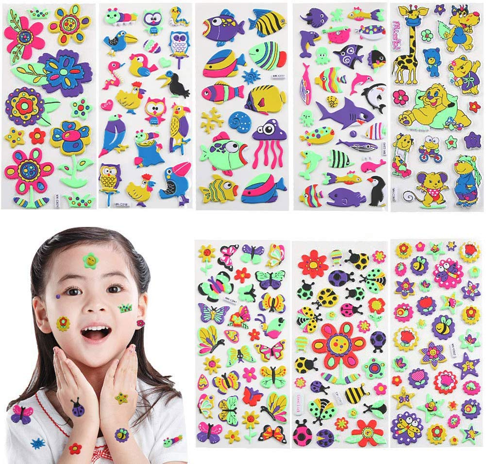 3D Stickers for Kids & Toddlers - Puffy Stickers Variety Pack Colorful Vivid Children Stickers for Scrapbooking Bullet Journal Including Animal, Fish, Shark, Flowers, Stars and More