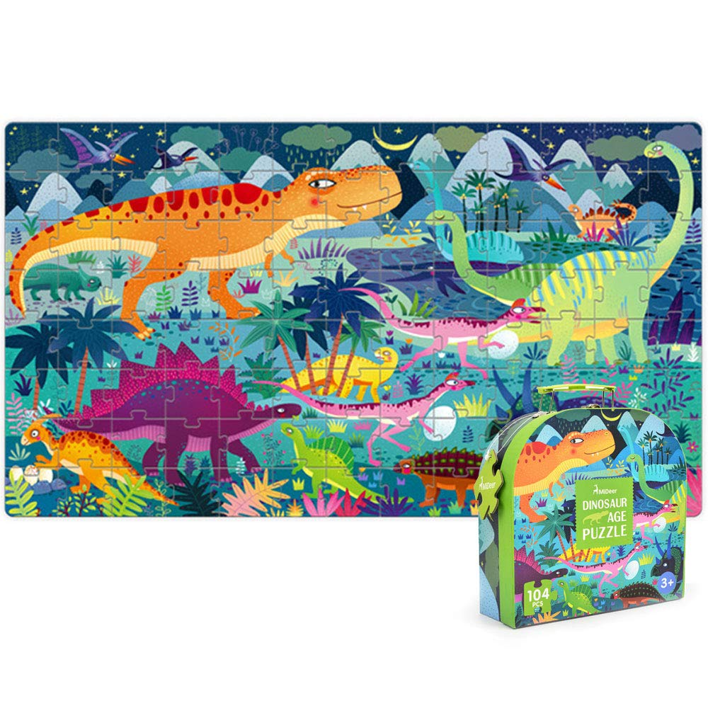 Joyshare Dinosaur Puzzles for Kids 104PCS, Shape Gifts for 3 4 5 6 Year Old Girls, Recognition Dinosaur Toy Kingdom Pieces Fit Together Perfectly with a Box for Kids Toddlers Girls Boys