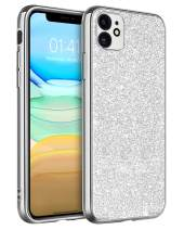 iPhone 11 Case Slim Fit, BENTOBEN 2019 Updated Sparkle Glitters Shockproof Heavy Duty Hybrid Hard PC Back Soft Bumper Drop Protection Shiny Bling Girls Women Phone Cover for iPhone11 6.1 Inch, Silver