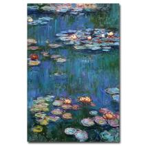 Waterlilies Classic Artwork by Claude Monet, 16 by 24-Inch Canvas Wall Art