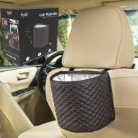 YoGi Prime Black car Trash can Garbage Bag for Your auto with Back seat hangings, Elegante Well Design Cars Bags and bin with headrest Holder,Floor Waterproof Mini Container Perfect Best Accessories