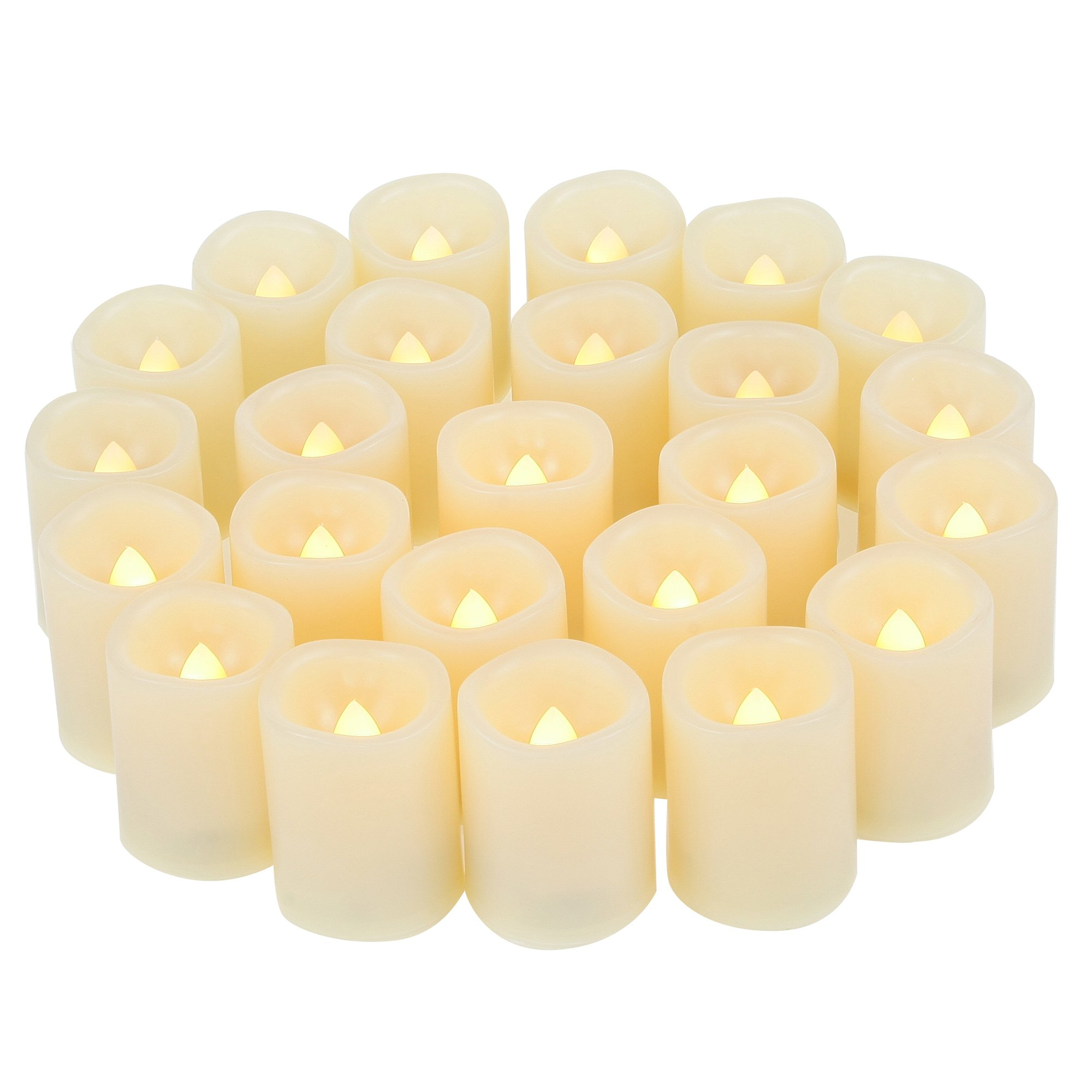 Candle Choice Set of 24 Premium Flameless Votive Candles, Battery-Operated, LED Candles, Long Battery Life 120+ Hours, Battery Included.