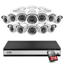 ZOSI 16 Channel Security Camera System, 1080N/720P Hybrid 16 Channel DVR with Hard Drive 2TB and 12 x 720p CCTV Bullet Camera Outdoor Indoors, 120ft Night Vision, 90° View Angle, Remote Access