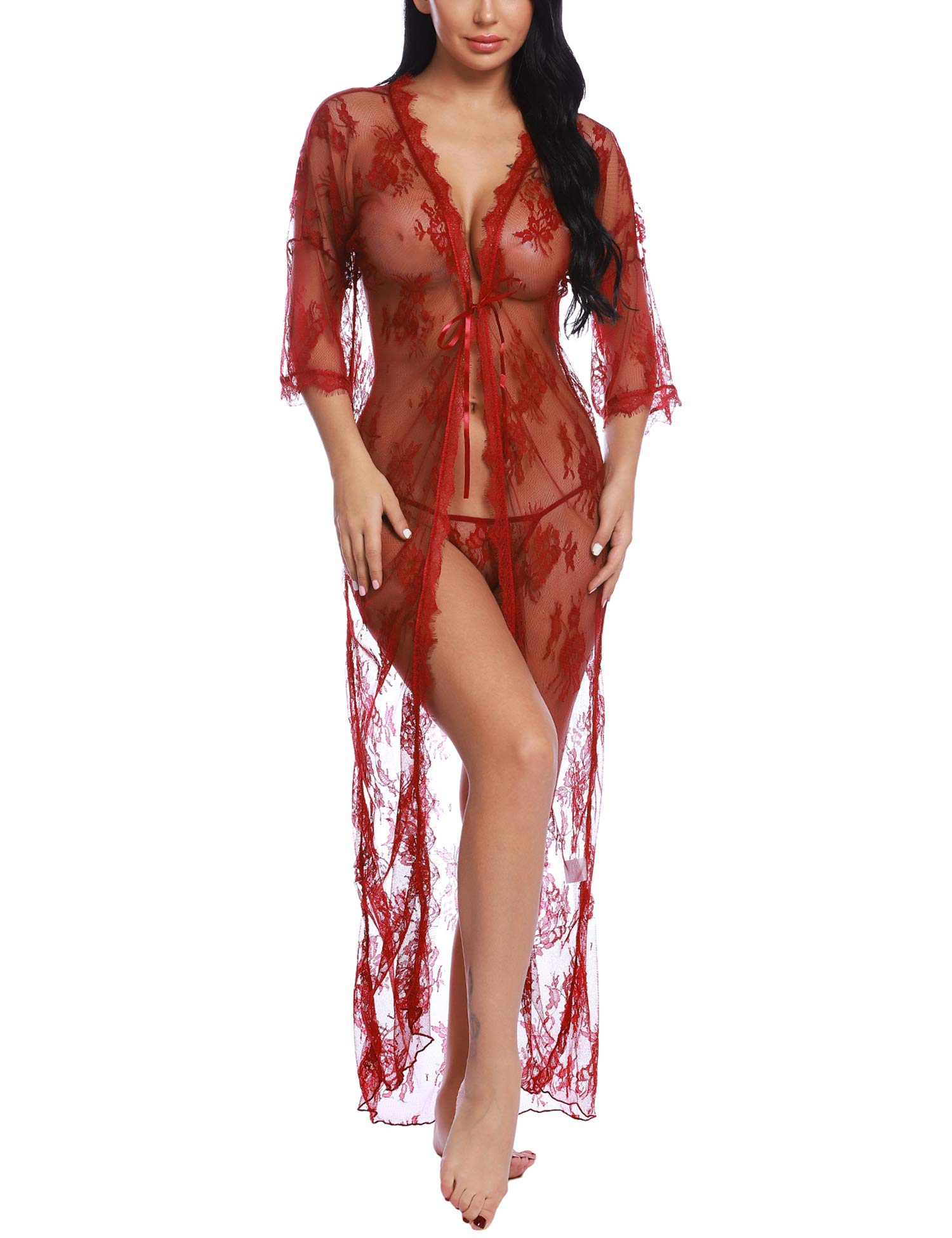 Ababoon Womens Lingerie Lace Long Robe 3/4 Sleeve Sexy Sheer Kimono Mesh Nightgown for Sex